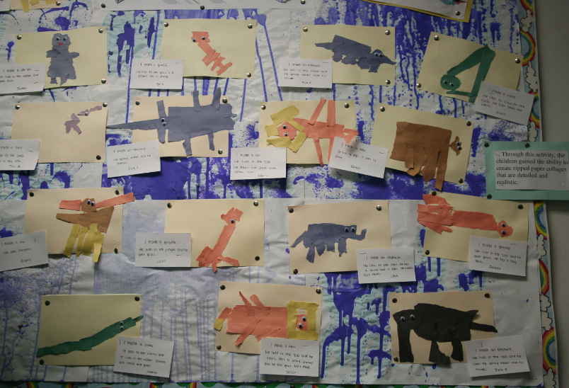 bulletin board of animal collages
